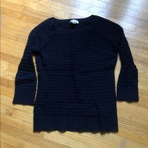 Open knit 3/4 sleeve sweater, navy